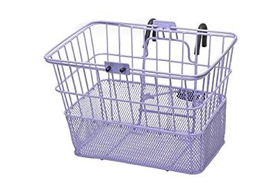 Retrospec Detachable Steel Half-Mesh Apollo Lift-Off Bike Basket with Handles, Lavender