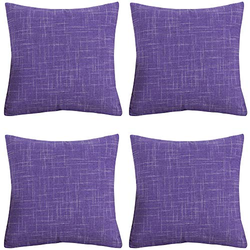 Gonove 4 Pack 45×45 cm Pillow Covers PolyesterThrow Pillow Case Decorative Pillow Cover Square Cushion Cover for Sofa,Bed (001-Purple)
