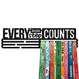 United Medals Every Little Step Counts Medalla Percha | Acero Recubierto de Polvo Negro (43cm / 48 Medallas) Soporte para Medallas Deportivas