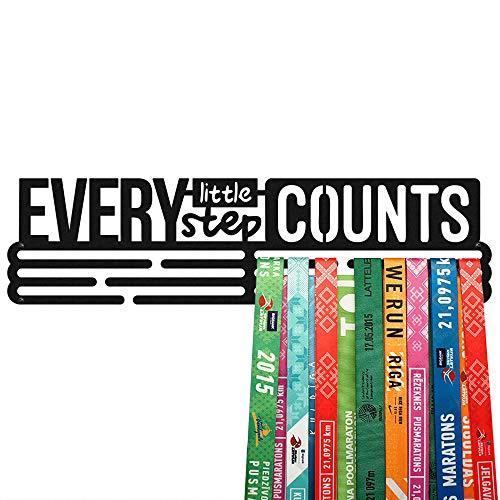 United Medals Every Little Step cuenta la exhibición de medallas deportivas | Soporte de acero recubierto de polvo negro (3 barras para colgar hasta 48 medallas) | Marco de montaje en pared