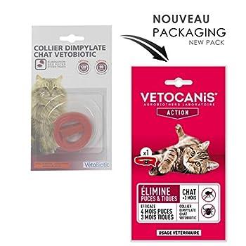 VETOCANIS Collier antiparasitaire pour Chat, Anti-puces et anti-tiques au Dimpylate. Elimine les parasites jusqu'à 4 mois.