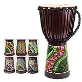 African Drum, Hand-Painted Bongo Congo Djembe Drum 9.5'' x 20'' Mahogany Goatskin Drumhead for...
