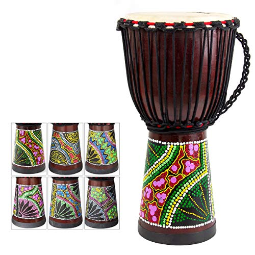 African Drum, Hand-Painted Bongo Congo Djembe Drum 9.5'' x 20'' Mahogany Goatskin Drumhead for Children Starter Beginners