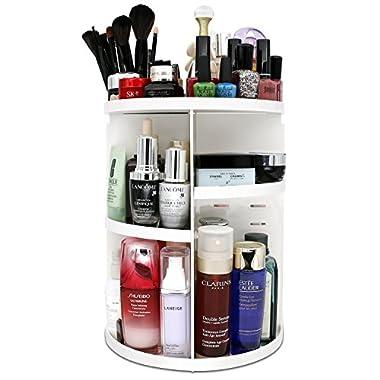 meeracula 360 Degree Rotating Makeup Organizer, Adjustable Multi-Function Cosmetic Storage Box, 7 Layers, Oversize Capacity, Fits Nail Polish, Eyeliner, Lipsticks and More.(White) (Large)