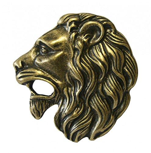 Dark Dreams Gothic Mittelalter brauner Ledergürtel mit Gürtelschnalle Löwenkopf Lion Löwe Lionhead in altmessing, Länge:95 - 2