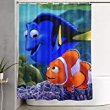 Setyserytu Duschvorhänge/Badvorhänge, Shower Curtain with Hooks Nemo Fish Home Curtains Modern Pattern Shower Room Curtains