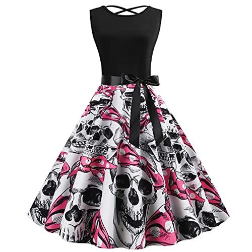 Julhold Vestido de fiesta de Halloween para mujer con estampado de calavera, cctel, sin mangas, vintage, vestido de una lnea (negro, S)