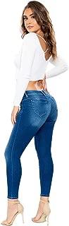 YMI Jeanswear Juniors' Denim Luxe Lift 1-Button Hi-Rise Regular Ankle Hem Jeans