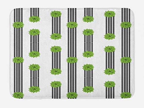 ABAKUHAUS Abstracto Tapete para Baño, Pistas del neumático y arbustos, Decorativo de Felpa Estampada con Dorso Antideslizante, 45 cm x 75 cm, Blanco Negro y Verde Lima