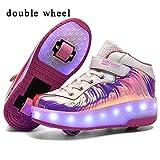 HOAPL - Zapatillas deportivas para niños, unisex, con luces LED y ruedas dobles, con ruedas automáticas, para correr y hacer deporte