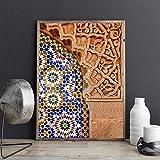ZLARGEW Arte de la Pared marroquí Impresión de la Lona Cartel de la Arquitectura de Marrakech Decoración de la Pared Boho Imagen de Terracota Decoración Pintura Carteles estéticos / 40x60cm Sin Marco