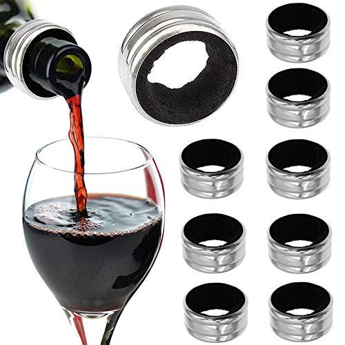 10 Pezzi Acciaio Inox Anello del Vino, Collare Bottiglia di Vino, Collare Antigoccia per Vino, Fodera in Feltro Resistente Acciaio Inox a Prova di Tenuta Accessori Vino per Ristorante, Famiglia