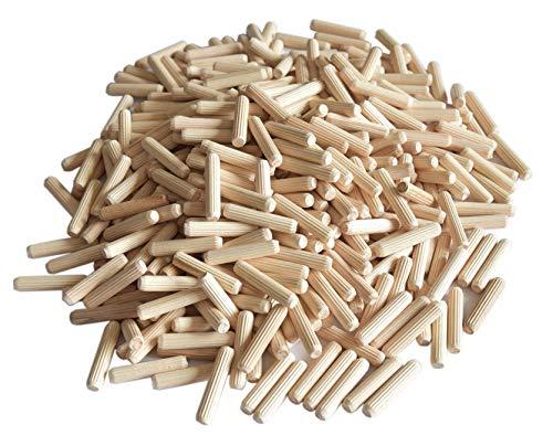 prima-online_de Holzdübel Riffeldübel 8x30 8x35 8x40 8x50 8x60mm (8x30mm ca.1020 Stück) [1kg]