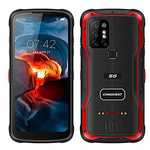 CONQUEST S20 Móvil Resistente, 5G Visión Nocturna Desbloqueado Teléfono Android IP68 Impermeable 48MP Cuatro Cámaras 8GB RAM 256GB ROM 6.3 Pulgadas(Rojo)