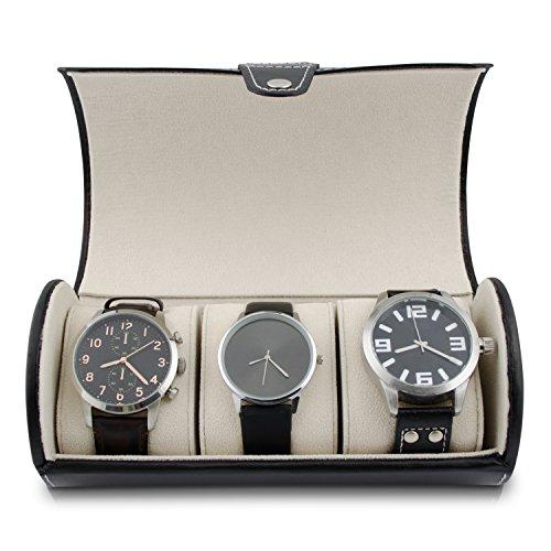 Uhrenetui zur Aufbewahrung von 3 Uhren - Schwarz - Uhrenbox zur Armbanduhren Präsentation