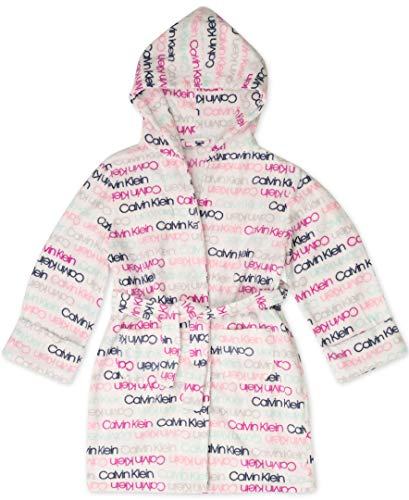 Calvin Klein Mädchen Hooded Cozy Robe Bademantel, Ck Logo Multi, Large