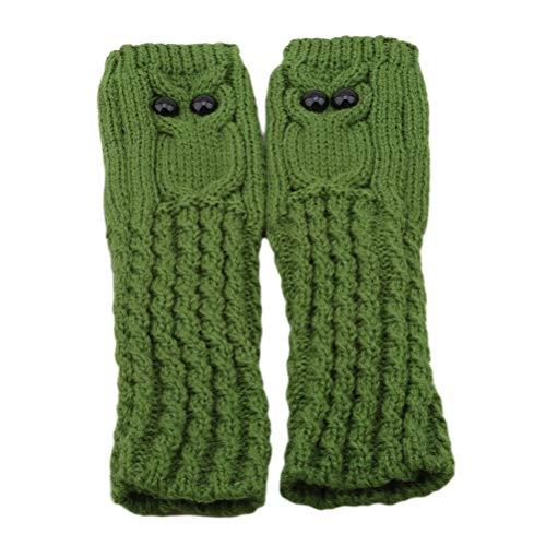 JIFNCR Winter Frauen Handschuhe Mit Cartoon Eule Muster Dekor Geschenk Fingerlose Strickhandschuhe Handgelenkwärmer für Mädchen Bekleidungszubehör, Grün