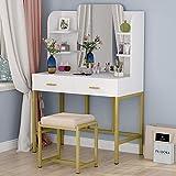 Tribesigns Coiffeuse Table de Maquillage avec Grand Miroir et Tabouret Coiffeuse Blanc avec 2 Tiroirs et 6 Étagères
