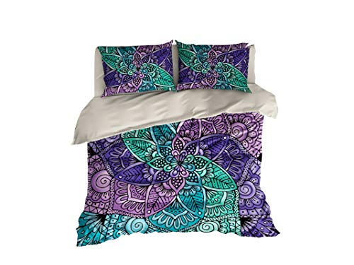 Cool Bedding Spiral Lace Mandala by Cool Letto Copripiumino o Copertina, 4Pezzi Colorati Mandala Design, Bohemian Bedding, Colorful, Full Set 83'x87' $186