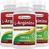3 Pack - Best Naturals L-Arginine 1000 mg 120 Tablets - Pharmaceutical Grade L Arginine Supplement Promotes Nitric Oxide Synthesis (Total 360 Tablets)