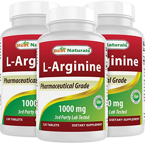 3 Pack - Best Naturals L-Arginine 1000 mg 120 Tablets - Pharmaceutical Grade L Arginine Supplement Promotes Nitric Oxide Synthesis (Total 360 Tablets)