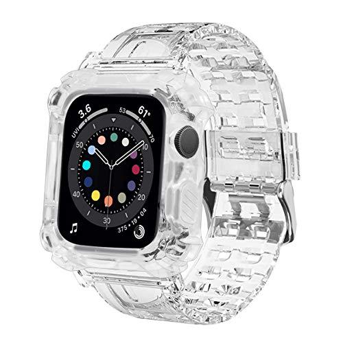 MroTech kompatibel mit Apple Watch Armband mit Hülle 44mm 42mm Silikon Bumper Case Ersatzarmband für iWatch SE Serie 6 5 4 Schutz Uhrenarmband Silikonarmband Schutzhülle Gehäuse mit Band-42/44 mm Klar