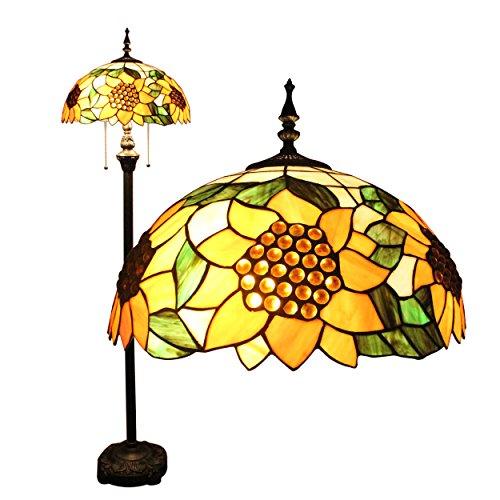 Creativo hecho a mano del vitral de Tiffany Tiffany Lámpara de pie de 16 pulgadas de girasol grano europeo Estilo Pastoral Elegante Lujo