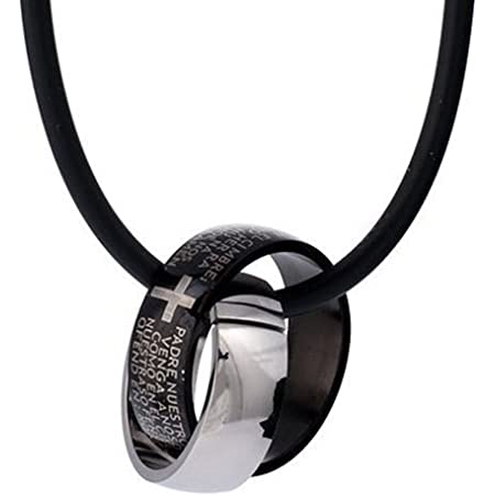Caucho DonDon Halskette con dos anillos de acero inoxidable en un negro Samtbeutel Kreuzgravur
