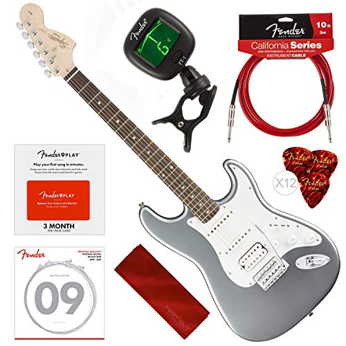Squier by Fender Affinity Stratocaster Beginner Electric Guitar, Slick Silver Beginners Bundle with Fender Play Pre-Paid Card, Strings, Picks, Tuner & More