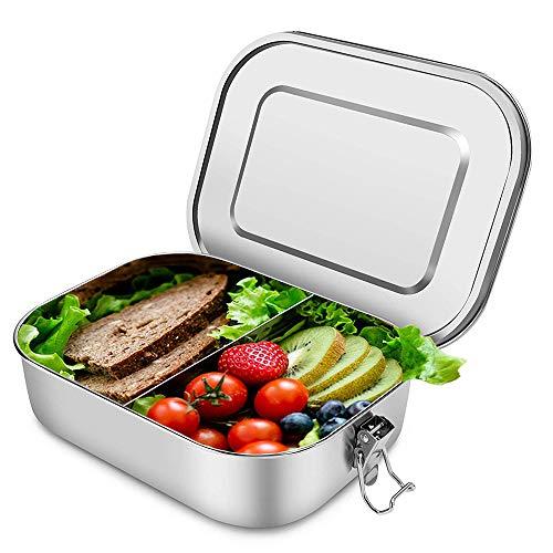 Scatole bento pranzo in acciaio inossidabile scatola da bento in metallo 1400 ml contenitore per alimenti ecologico a capacità maggiore con scomparti per studenti, adulti, bambini picnic (senza BPA)