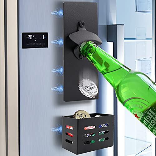 Houselog Simple Wall-Mounted Magnet Beer Bottle Opener With Cap Collector Catcher for Kitchen Use or Anywhere You Like (Black)