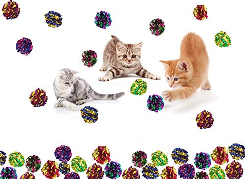Prairie Horse Supply X Large Premium Mylar Crinkle Balls (46 Pack) (2.5 Inches in Diameter) Interactive Long Lasting Lightweight Shiny Metallic Cat Kitten Toys Assorted Colors