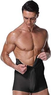 PAPIKOOL Mens Compression Boxer Shorts High Waist Shapewear Girdle Stretch Pants High Waist Zipper Design Tight Fit Gym Sh...