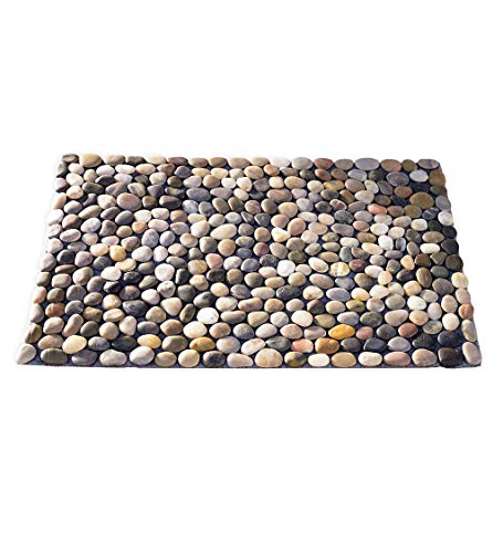 Vivaterra Multicolor Indoor Outdoor Smooth River Rock Stone Floor Mat 29.5' x 20'
