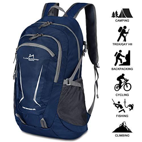 Loocower 45L Leichte Packable Reiserucksack Wanderrucksack, Multifunktionale Tagesrucksack, Faltbare Camping Trekking Rucksäcke, Utra Leicht Outdoor Sport Rucksäcke Tasche - Blue