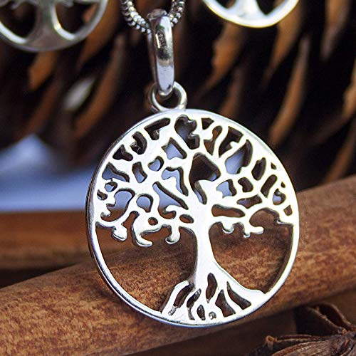 Tree of Life 925 Sterling Silver Pendant Necklace Yggdrasil Celtic Viking Norse Jewelry for Women Ancient Druid Symbol Family Tree Handmade Charm Amulet Talisman Rhodium-Plated