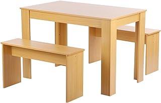 Juego de mesa de comedor de estilo moderno, mesa de bar y silla de madera, mesa alta con 2 taburetes, bancos de comedor, mesa de bar y sillas para dos personas
