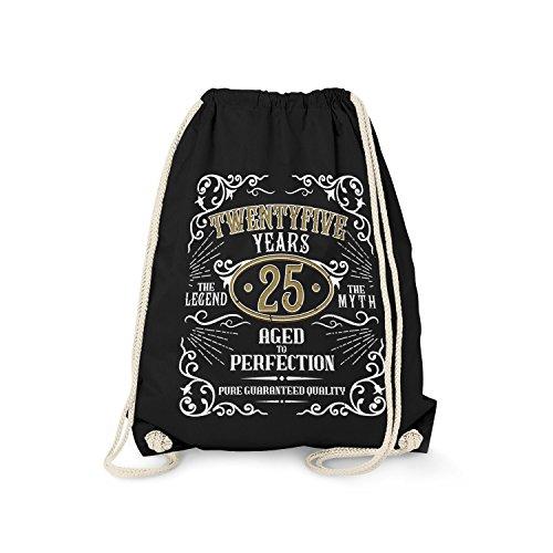 Fashionalarm Turnbeutel - Twentyfive Years Aged to Perfection | Fun Rucksack Whiskey Label Style mit Spruch | Geschenk Idee 25. Geburtstag Party, Farbe:schwarz