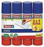 Tesa Stick Lote de Pegamentos de Barra (3 Unidades + 1 Gratis, 20 G), Color Blanco