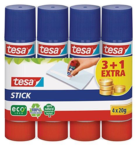 tesa Stick ecoLogo - Geruchsneutraler Klebestift für Papier und Pappe - Lösungsmittelfrei und Umweltschonend - 4 x 20 g