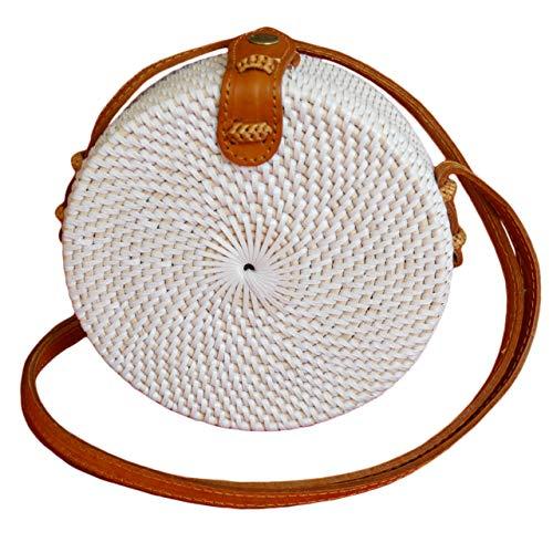 Pro@Home43 Original Bali handmade Damen Rattan Handtasche Umhängetasche Schultertasche - rund (WEISS-KLEIN)