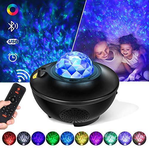 Tanbaby Proyector de Luz Estelar,Proyector LED Color Reproductor de Música con Bluetooth/Altavoz/Temporizador,Lámpara luces con Control Remoto,Luz bebé nocturna, LED de Luz Nocturna Giratorio