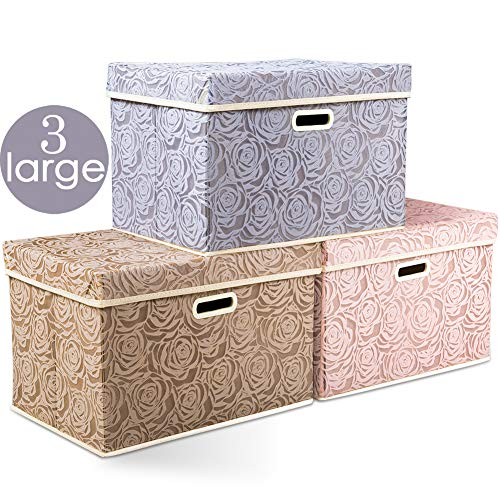 Prandom Large Stackable Storage Bins with Lids Fabric Decorative Storage Box Cubes Organizer Containers Baskets with Cover Handles Divider for Bedroom Closet Living Room 17.7x11.8x11.8 Inch 3 Pack