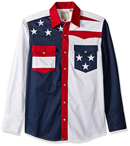 Roper Men's Pieced Stars and Stripes Patriotic Blue Button-up Shirt 2XL