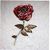 1pc Flor De Rose Lentejuelas Bordó Hierro En Parches, Parches De Bricolaje Cosen En Los Parches para Chaquetas De Los Pantalones Vaqueros Mochilas Ropa, Los 34 * 16cm