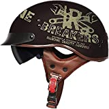 ZHXH Half Motorcycle Helmet, Hombres y mujeres adultos Evergreen Street Scooter/electric Car Riding Retro Harley Half Helmet/dot Approved,