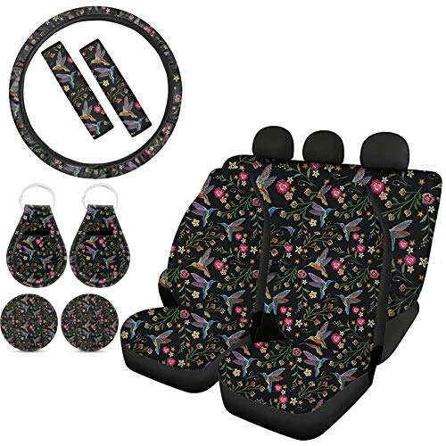 Goyentu Hummingbird Flower Print Car Seat Cover Protector Front & Rear Seat Cover SUV Car Full Set with Steering Wheel Cover Seat Belt Cover Auto Cup Coasters Key Chains Universal Fit for Women