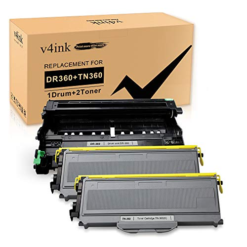 V4INK Compatible Toner Cartridge and Drum Unit Set Replacement for Brother TN360 DR360 (1 Drum + 2 Toner),for use in Brother DCP-7030 DCP-7040 HL-2140 HL-2170W MFC-7340 MFC-7345N MFC-7440N MFC-7840W
