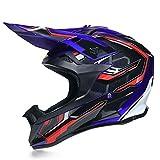 QAZWSオフロードヘルメットオートバイヘルメットレーシングヘルメット大人用オフロード車両DOT屋外フルフェイスオフロード車両用ヘルメットオフロードオートバイヘルメット(4枚セット) (M,ブルー)