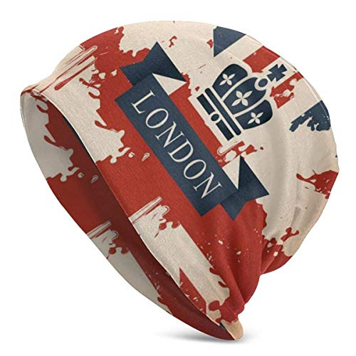 Gorro Hombres Mujeres - Maleta de Viaje Vintage con Bandera británica Cinta de Londres e Imagen de la Corona - Gorra de Gorro de Punto Unisex con Calavera Lisa